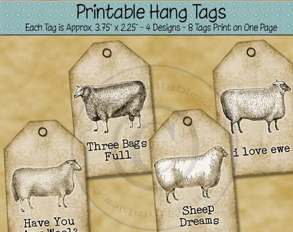 Printable Tags - Sheep - Farm - Sheet Tags in JPG and PDF