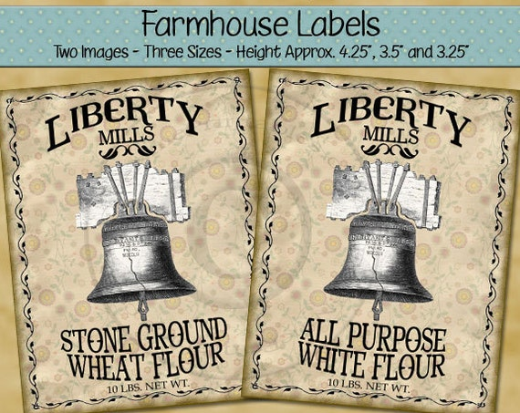 Liberty Bell Printable Farmhouse Labels - Liberty Mills Flour - Digital PDF or JPG File