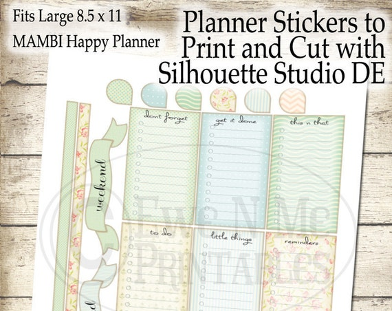 Printable Planner Stickers - Letter Size Planner - Large Happy Planner Stickers Printable - Print Cut Silhouette Studio DE - Shabby Cottage