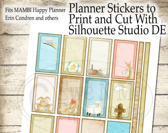 Happy Planner Printable Stickers - Rustic Easter Stickers - Happy Planner Weekly Kit - Printable Planner - Print Cut Silhouette Studio DE