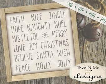 christmas svg file christmas words svg bundle rae dunn inspired words svg ornament svg files commercial use svg dxf png jpg
