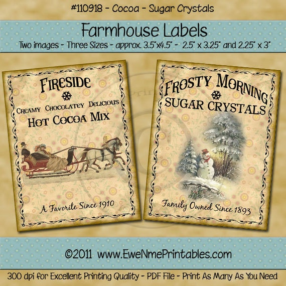 Farmhouse Printables - Printable Labels - Primitve Tags - rustic christmas tags - Fireside Cocoa Crystal Sugar - Sleigh, Snowman - PDF & JPG