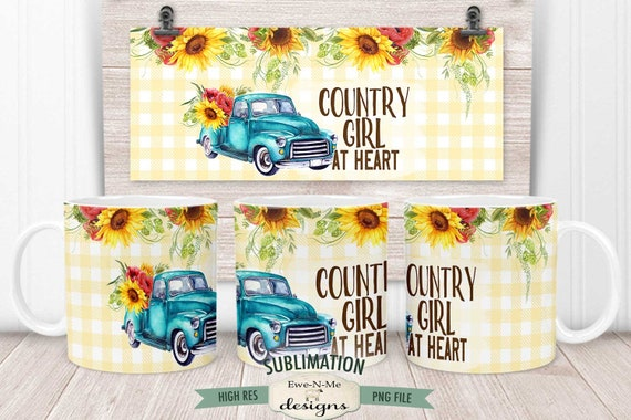Blue Truck Sunflowers Sublimation Mug Design - Country Girl at Heart - Printable 11 oz. and 15 oz. Mug Sublimation Wrap PNG