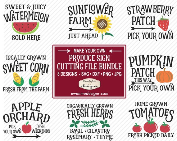 Produce Sign SVG Bundle - Garden SVG