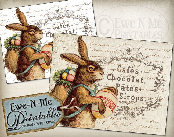 Printable Easter Art  - Rustic Easter Bunny Image - French Country Iron On Transfer or Print on Fabric or Paper - Instant Download JPG File