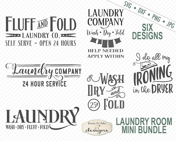 Laundry SVG Bundle - Laundry Room Sign SVG Bundle - Commercial Use svg, dxf, png, jpg