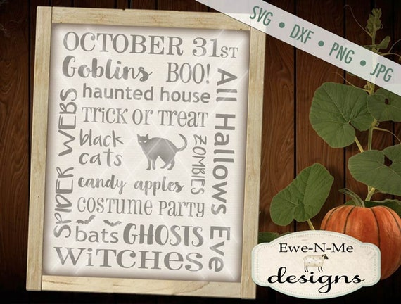 Halloween SVG - Black Cat svg - Halloween Cut File - Halloween Subway Sign SVG - Commercial Use svg, dxf, png and jpg files