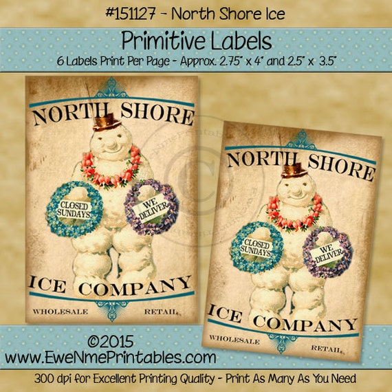 Primitive Christmas Label Printable - Victorian Snowman Primitive Tags - North Shore Ice Company - Printable PDF or JPG File