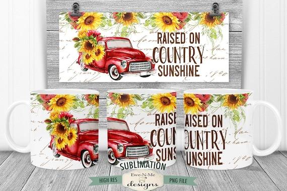 Red Truck Sunflowers Sublimation Mug Design - Country Sunshine - Printable 11 oz. and 15 oz. Mug Sublimation Wrap PNG