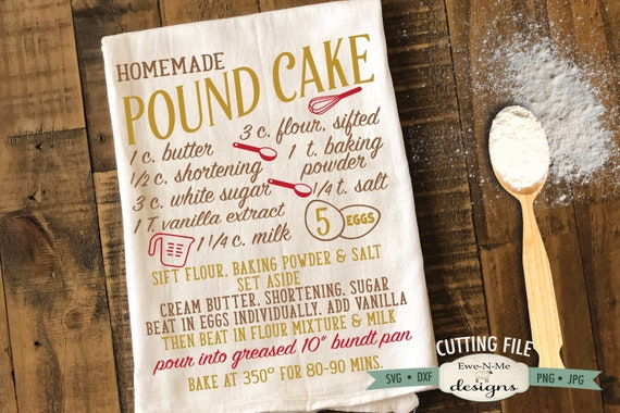 Pound Cake Recipe SVG  - cake recipe svg - kitchen svg - Recipe svg - Commercial Use svg, dxf, png and jpg files
