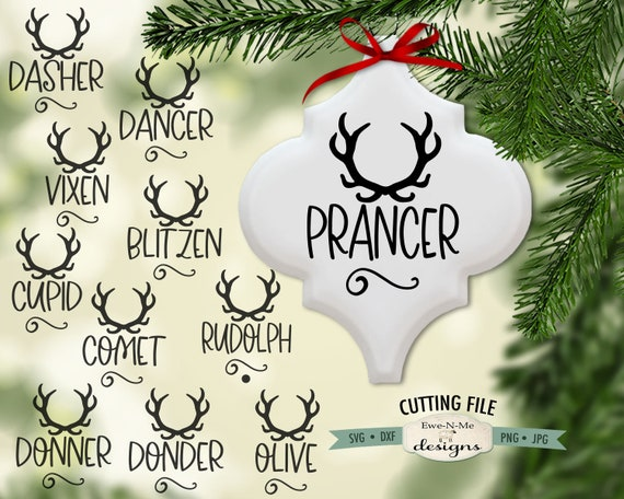 Tile Ornament SVG Files - Reindeer Names SVG - Commercial use svg bundle