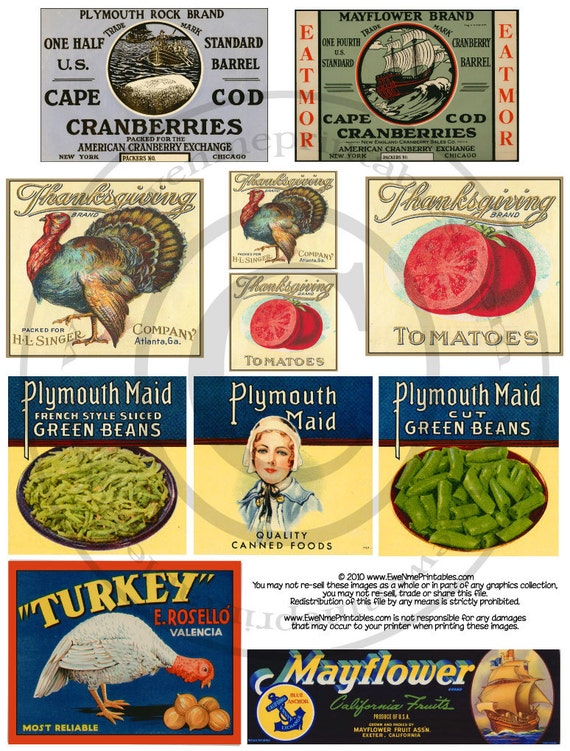 Vintage Style Thanksgiving Food Crate Label Printables - Plymouth Maid - Thanksgiving Turkey - Printable PDF or JPG File