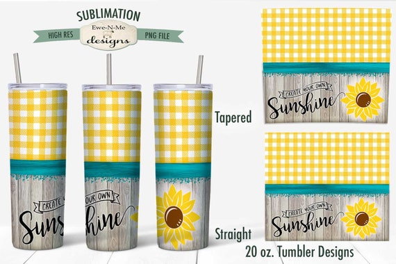 Sunflower Tumbler Sublimation Design - Create Your Own Sunshine PNG File