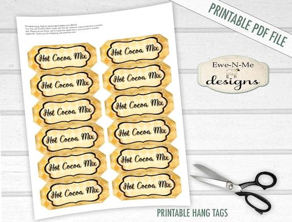 Hot Cocoa MIx Printable Hang Tags - Hot Cocoa Mix - Digital Print PDF and/or JPG File