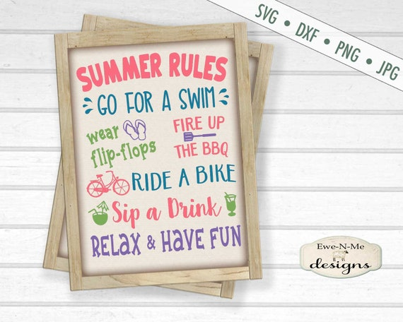 Summer Rules SVG - Porch Sign svg - Summer Subway svg