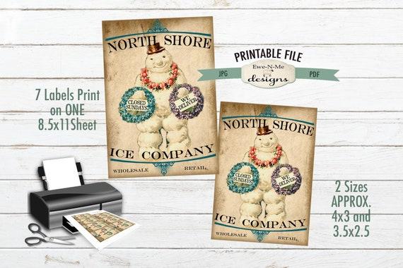 Primitive Christmas Label Printable - Victorian Snowman Primitive Tags