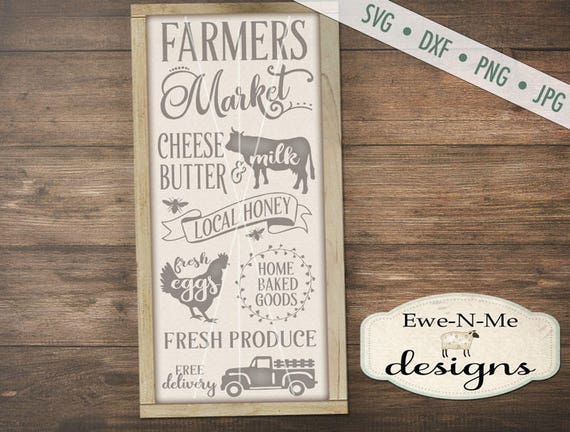Farmers Market SVG - fresh eggs svg - farmhouse svg - old truck svg - cow svg