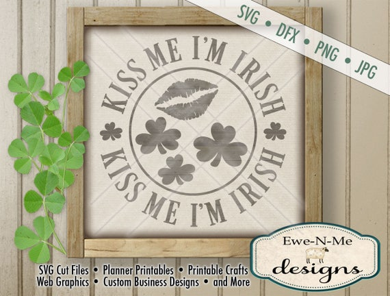 St Patricks Day svg file - St Patricks svg - kiss me i'm irish svg - shamrocks lips kiss me svg -  Commercial Use svg, dxf, png and jpg