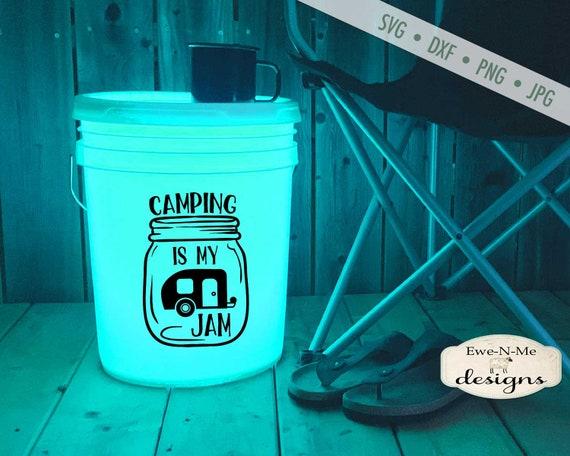 Camping Is My Jam SVG - Camper SVG - camping bucket svg - Camping SVG - mason jar svg - travel svg - Commercial Use ok -  svg, png, dxf, jpg