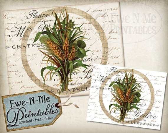 Printable French Country Wall Decor Fall Wheat - Farmhouse - Printable Images for Fabric & Paper - JPG - Commercial Use - Printable Wall Art