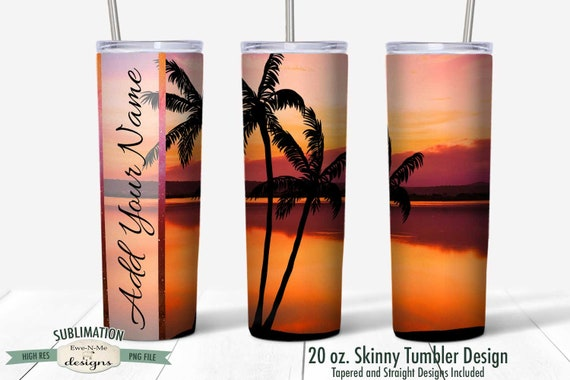 Sunset Palm Tree Beach Tumbler Sublimation Design