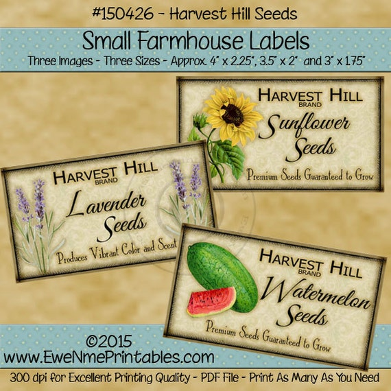 Primitive Seeds Farmhouse Label Printables -  Lavender Seeds, Sunflower Seeds, Watermelon Seeds - Harvest Hill Seeds - PDF or JPG File