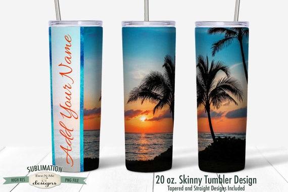 Ocean PalmTree Beach Tumbler Sublimation Design  for 20 oz. Tumbler Straight Tapered