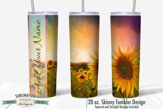 Sunflower Field Tumbler Sublimation Design - Summer - Sunflower Sunset - Sublimation 20 oz. Tumbler Straight Tapered