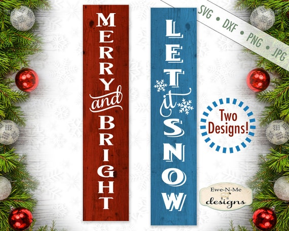 Christmas Svg Merry And Bright Svg Let It Snow Svg Etsy