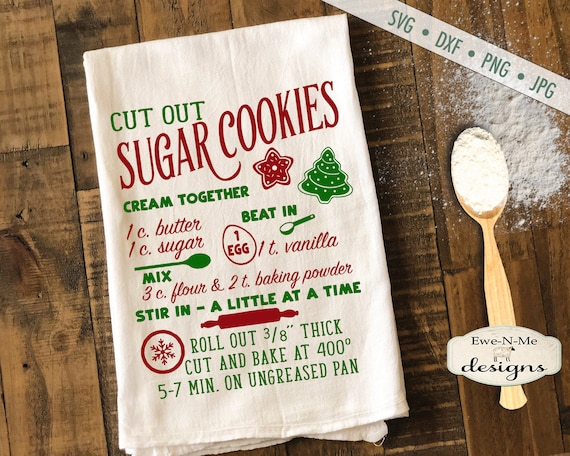 Cut Out Cookie Recipe SVG - Sugar cookie recipe svg - Christmas svg - Sugar Cookie SVG - Kitchen svg - Commercial Use svg, dxf, png, jpg