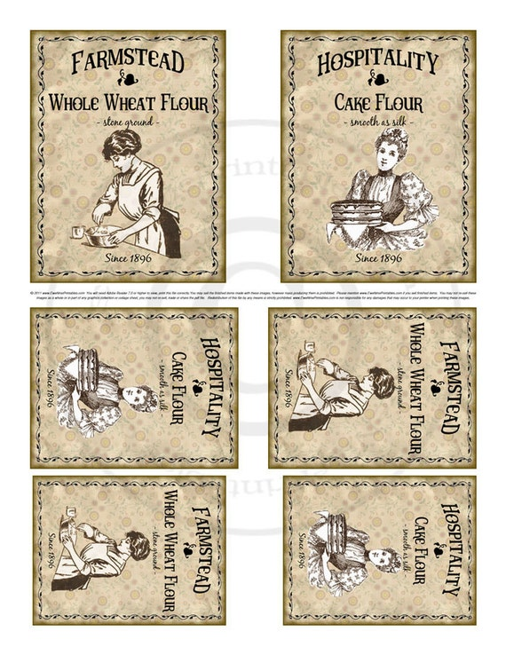 Kitchen Farmhouse Label Printables - Hospitality Cake Flour, Farmstead Whole Wheat Flour - Sepia Tone Images -  PDF or JPG File