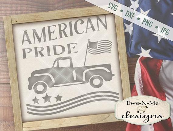 Patriotic svg - July 4th SVG - Vintage Red Truck svg - American Pride svg - Old Truck with Flag svg -  Commercial Use svg, dxf, png, jpg
