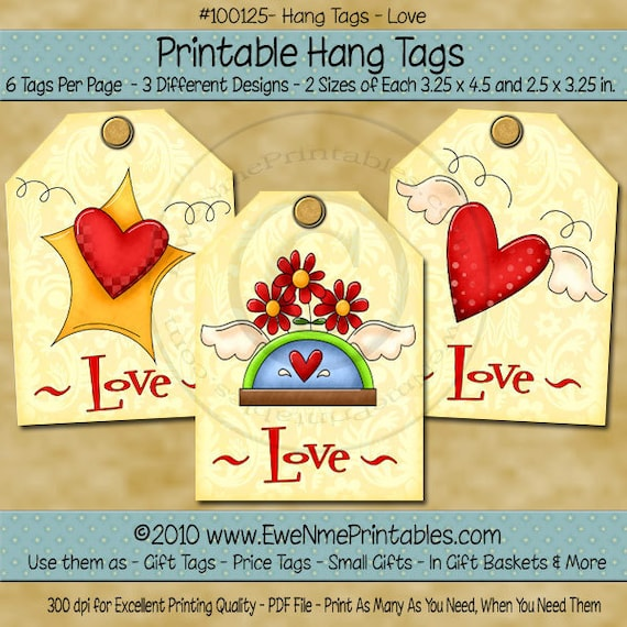 Love Heart Printable Hang Tags wirh Angel Wings, Flowers and Stars - Pale Yellow BAckground - Digital PDF and/or JPG File
