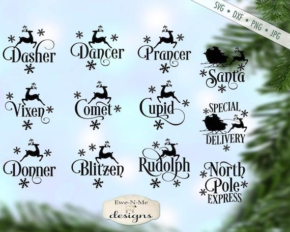 Reindeer Names SVG - christmas svg - Snowflake SVG - Santa svg - ornament  svg -  Reindeer SVG - Commercial use svg bundle