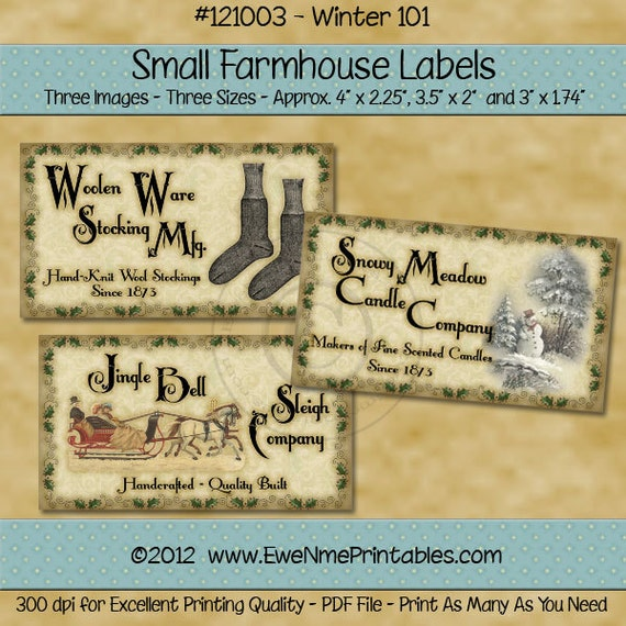 Primitive Winter Farmhouse Label Printables - Snowy Meadow Candle - Woolen Ware Stocking - Sleigh Jingle Bells - Digital PDF File
