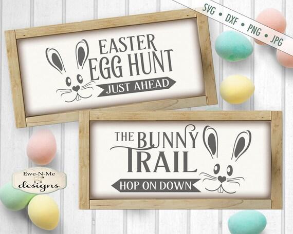Easter SVG - Bunny Trail svg - Egg Hunt SVG - Bunny Face svg -  happy easter svg