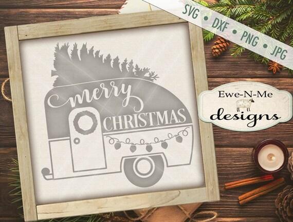 Christmas Camper SVG - Camper SVG - trailer with tree svg - christmas svg - String Lights svg - Commercial Use svg, png, dxf, jpg