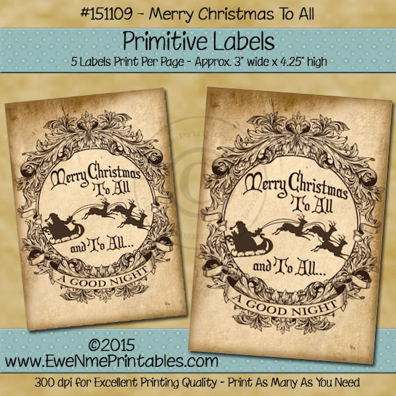 Primitive Victorian Christmas Label - Merry Christmas To All - Santa Sleigh Label - Printable PDF or JPG File