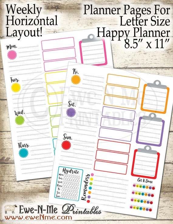 Letter Size Planner Pages - Printable Planner Pages - Happy Planner Inserts - Undated Weekly Planner Pages - Colorful Horizontal Clipboard