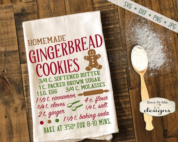 Gingerbread Cookie Recipe SVG - cookie recipe svg - Christmas svg - Gingerbread SVG - Kitchen svg - Commercial Use svg, dxf, png, jpg files