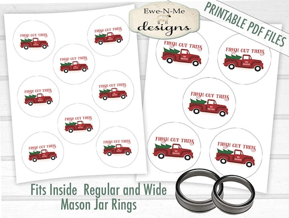 Old Truck Printables - Mason Jar Ring Printable - Digital Print PDF and/or JPG File