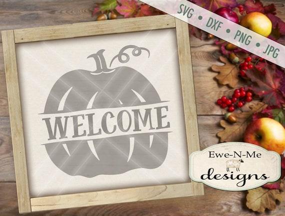 Pumpkin SVG  - Split Pumpkin svg - Welcome svg  - Fall SVG - Autumn SVG - Commercial Use svg, dxf, png, jpg