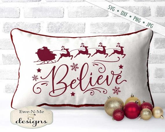 Believe SVG - reindeer svg - Santa Sleigh - Snowflake svg - Stars svg - Christmas SVG - Commercial Use svg, dxf, png and jpg files