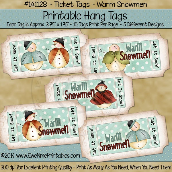 6f38fafcab088 Snowman Tags Ticket Shaped Printable Hang Tags or Labels