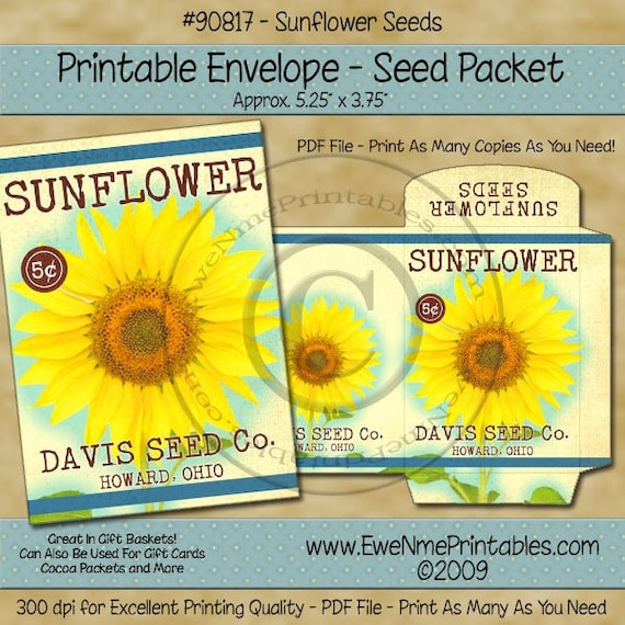 Sunflower Seed Packet Printable - Primitive Vintage Sunflower Envelope - Digital PDF and/or JPG File