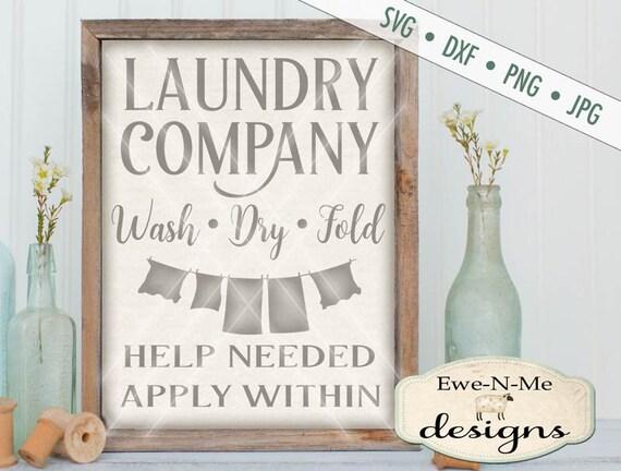 Laundry Company SVG - laundry svg - Laundry room SVG - clothesline svg - laundry sign svg - Commercial Use svg, dxf, png, jpg