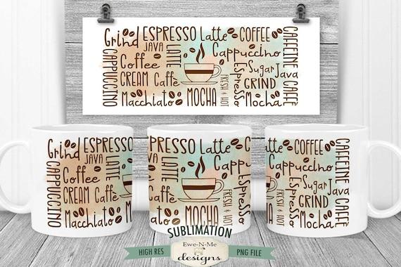 Coffee Subway Sublimation Mug Design - Coffee Words Subway Design - Printable 11 oz. and 15 oz. Mug Sublimation Wrap PNG