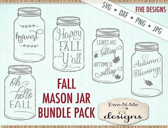 Fall SVG Bundle - Fall Mason Jar svg bundle - Mason Jar SVG - autumn svg