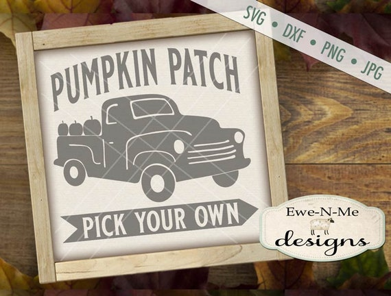 Pumpkin Patch SVG - old truck svg - autumn fall svg - antique truck svg - red truck svg - pumpkin svg - Commercial Use  svg, dxf, png, jpg