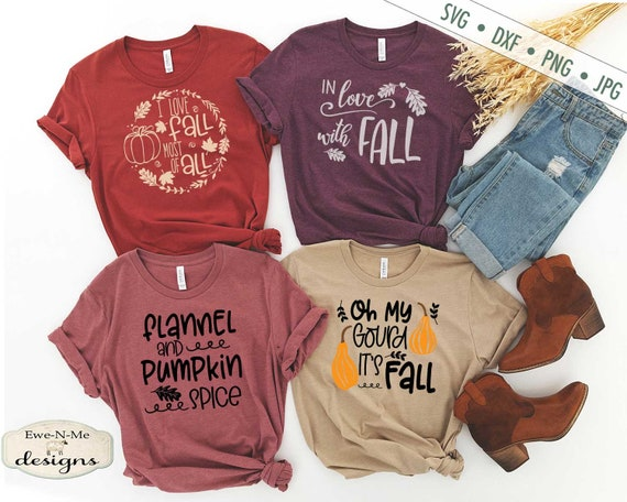 Fall T-Shirt Mini Bundle Cutting Files - Commercial Use svg, dxf, png, jpg